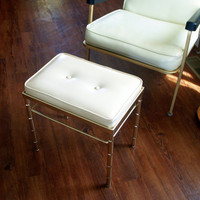 HOLLYWOOD REGENCY FURNITURE Vintage 1960s Faux Bamboo Vanity Stool Cream Tufted Bench, Ottoman, Seat, Foot Rest Gold Brass Asian