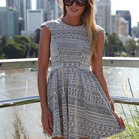 Black &amp; White Print Mini Dress with Cap Sleeves