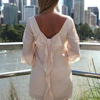 Cream Long Sleeve Chiffon Dress with Bow Back &amp; Slit Sleeves