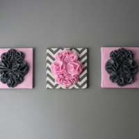 Three Wall Art Canvases, Pink and Gray Chevron Nursery Wall Art, 3D Wall Decor, Felt 12x12&quot; Wall Hangings