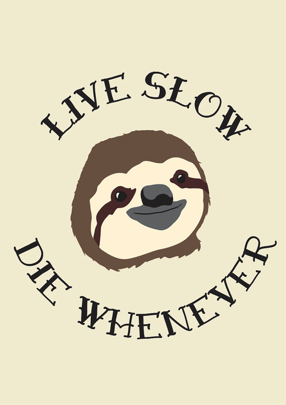 funny sloth poster live slow die from deathrayprints on etsy