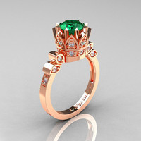 Classic Armenian 14K Rose Gold 1.0 Emerald Diamond Bridal Solitaire Ring R405-14KRGDEM