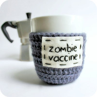 Coffee Mug Zombie Vaccine Tea Cup Cozy blue purple by KnotworkShop