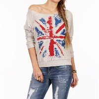 SALE-Vintage British Flag Fleece Sweater