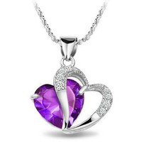 KATGI Fashion Sterling Silver Plated Diamond Accent Swarovski Elements Heart Shape Pendant Necklace