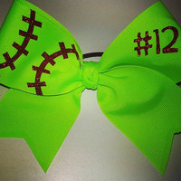 Softball Bow w/ Number