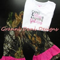 camo and bling is a hunting girl thing embroidred  shirt mossy oak matching pants baby girl 0 3 6 9 12 18 24 months 2t 3t 4t 5t