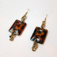 Vintage 1980s faux tortoiseshell resin drop earrings
