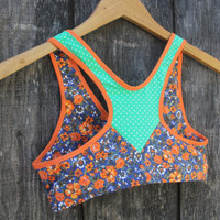 recycled SALE. polka dot and floral sports bra II. size XS and S only.