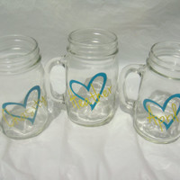 Personalized Mason Jars 16 oz Heart Design by madebytheresarenee