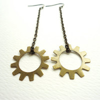 Steampunk Long Bronze Gear & Chain Earrings