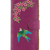 LAVISHY bird vegan leather/imitation leather large embroidered wallet
