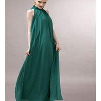 * Free Shipping * Green Stand Collar Chiffon Dress A0927gr