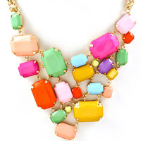 Chunky Colorful Bib Necklace - Multi | .H.C.B.