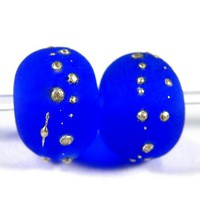Etched Intense Blue Handmade Lampwork Glass Beads Fine Silver Frosted