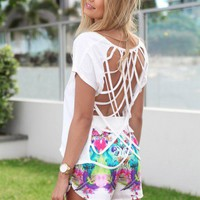 SABO SKIRT  Arctic Shredded Tee - White - $32.00