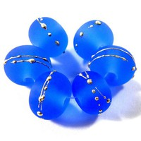 Etched Glass Dark Blue Handmade Lampwork Beads Wrapped In Fine Silver