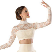 Floral Lace Turtleneck Crop Top, Balera