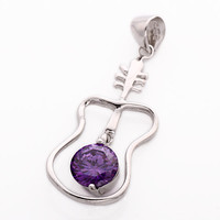 925 Silver Guitar Shaped Crystal Necklace Pendant at Online Jewelry Store Gofavor