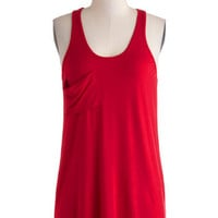 Downtown Boutique Tank in Ruby | Mod Retro Vintage Short Sleeve Shirts | ModCloth.com