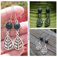 Fancy Jasper Green Silver Leaf Charm Earrings