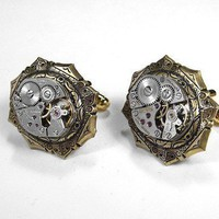 Steampunk Cufflinks - Antique Jeweled Watch Brass Deco Steampunk Jewelry by edmdesigns | edmdesigns - Accessories on ArtFire