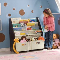 Kids` Sling Bookshelf with Storage Bins ESPRESSO: Baby
