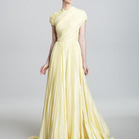 Carmen Marc Valvo Couture - Cap-Sleeve High-Neck Gown - Bergdorf Goodman