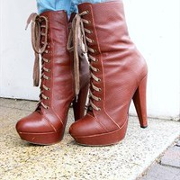 Office Nico Brown Leather Lace Up Platform Boots - 4 / 37 from Queen of Threads