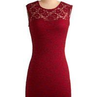 ModCloth 80s Mid-length Sleeveless Shift, Bodycon Ruby Blooms Dress