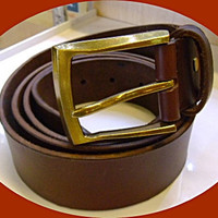 handmade  man&#x27;s brown leather belt brass buckle XL