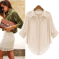 SUMMER CHIFFON APRICOT BLOUSE