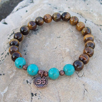 Tigereye and Magnesite Beaded with OM Charm Meditation Stretch Bracelet