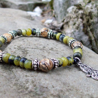 Hamsa Hand Meditation Bracelet - Picture Jasper and New Jade Beaded  - Unisex