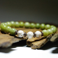 Green Serpentine and Magnesite Meditation Bracelet