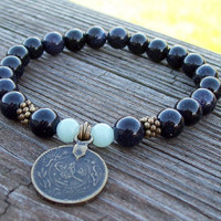 Blue Goldstone Bracelet with Ottoman Coin Charm                - Meditation Stretch Bracelet