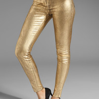 J Brand Stretch Legging in Coated Metallic Gold from REVOLVEclothing.com