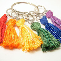 Bright Rainbow Beaded Tassel Keychain Set by lizbethsgarden