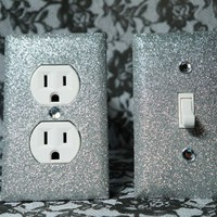 SET of Chunky SILVER GLITTER Switch Plates / Outlet Covers ANY STYLES