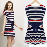 Cotton navy stripe Bow dress