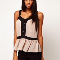 ASOS Top With Cutout Back And Contrast Buttons at asos.com