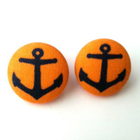 NEW yellow and navy blue anchors nautical fabric button earrings