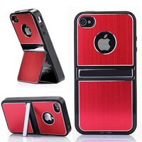 Aluminum Hard Case Cover with Chrome Stand For iPhone