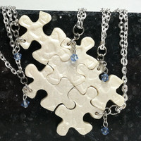 Puzzle Piece Necklace Set  of 5 Bridesmaid or Best Friend Pendants Polymer Clay  with Swarovski Crystals Set 197