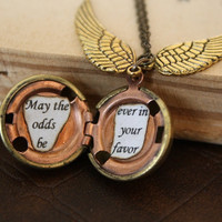 Hunger Games Necklace - Harry Potter Golden Snitch - May the Odds Be Ever in Your Favor - You Choose the Snitch