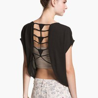 Haute Society Lattice Cutout Tee (Juniors) | Nordstrom