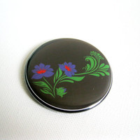 Russian Inspired Blue Flowers Pocket Mirror - UK Seller