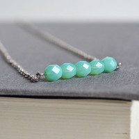 Seafoam Green Bar Necklace, Opaque Czech Glass Five Stone Necklace, Aqua Blue Sparking Jewelry,Bar Mint Glass Necklace