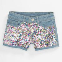Flowers by Zoe Sequin Denim Shorts (Big Girls) | Nordstrom