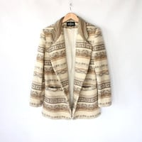 Vintage 80s Ivory Navajo Wool Blazer with Suede Collar // Women's Spring Jacket